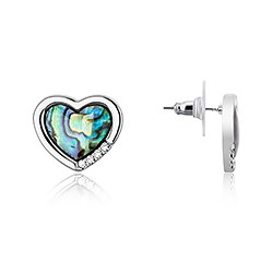August Woods Silver Abalone Heart Earrings  - Click to view larger image