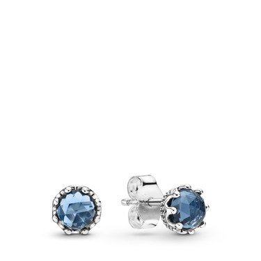 Pandora Blue Sparkling Crown Stud Earrings  - Click to view larger image