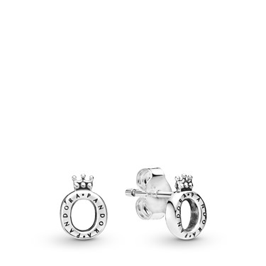Pandora Polished Crown Stud Earrings  - Click to view larger image
