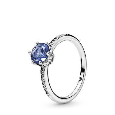 Pandora Blue Sparkling Crown Ring  - Click to view larger image