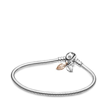 Pandora Moments Leaves Snake Chain Bracelet  - Click to view larger image