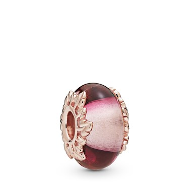 Pandora Pink Murano Glass & Leaves Charm  - Click to view larger image