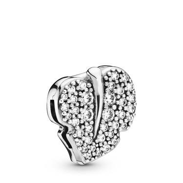 Pandora Reflexions Sparkling Leaf Clip Charm  - Click to view larger image