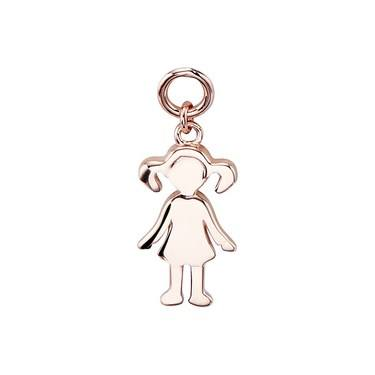 Storie Rose Gold Girl Pendant Charm   - Click to view larger image