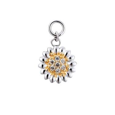 Storie Silver & Gold Daisy Pendant Charm   - Click to view larger image