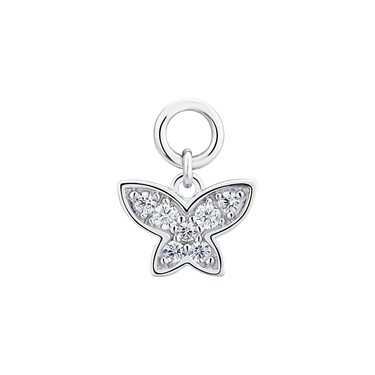 Storie Silver Crystal Butterfly Pendant Charm   - Click to view larger image