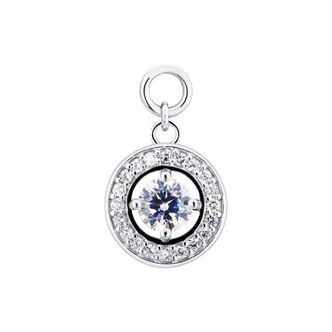 Storie Silver Halo Crystal Pendant Charm   - Click to view larger image