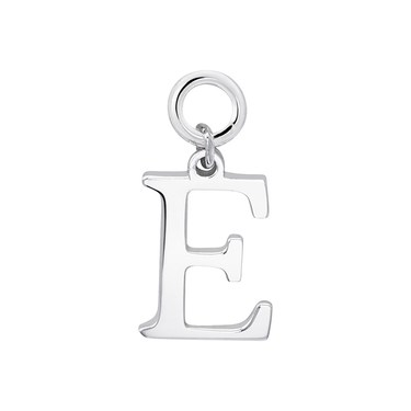 Storie Silver Letter E Pendant Charm   - Click to view larger image