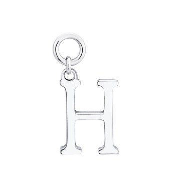 Storie Silver Letter H Pendant Charm   - Click to view larger image