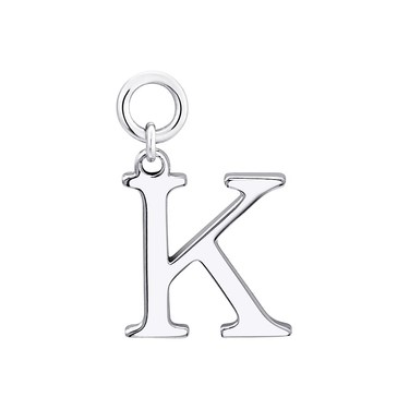 Storie Silver Letter K Pendant Charm   - Click to view larger image