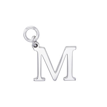 Storie Silver Letter M Pendant Charm   - Click to view larger image