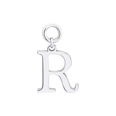 Storie Silver Letter R Pendant Charm   - Click to view larger image