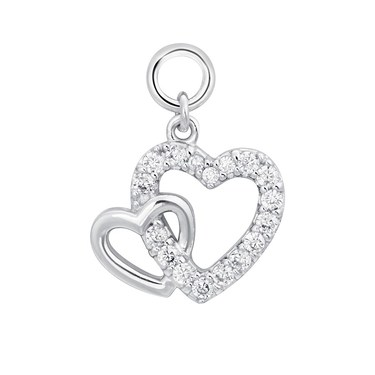 Storie Silver Linked Heart Pendant Charm   - Click to view larger image