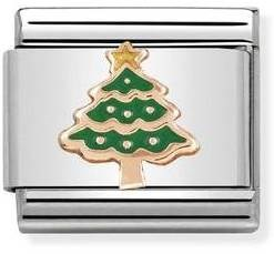 Nomination Rose Gold Christmas Tree Charm   - Click to view larger image