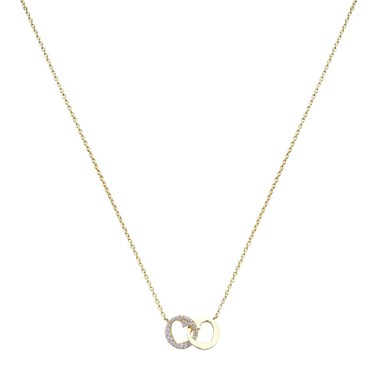 Argento Gold Crystal Heart Circle Necklace   - Click to view larger image