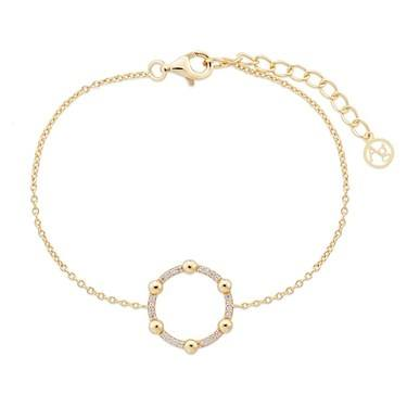 Argento Gold Dot Crystal Hoop Bracelet - Gold