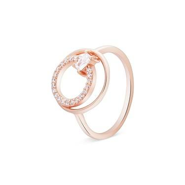 Argento Rose Gold Double Crystal Circle Ring  - Click to view larger image