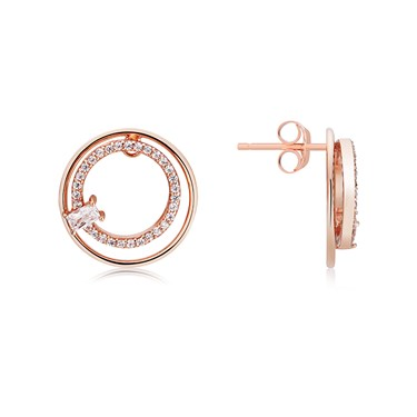 Argento Rose Gold Double Crystal Circle Earrings  - Click to view larger image