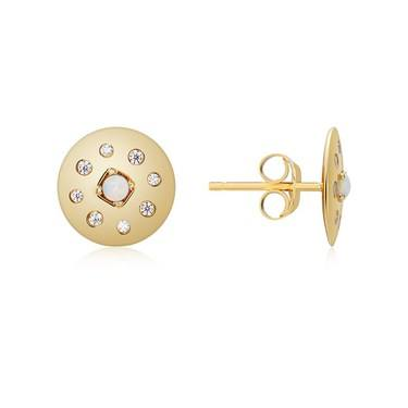 Argento Gold Opal Crystal Disc Earrings   - Click to view larger image