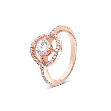 Argento Rose Gold Crystal Circle Ring   - Click to view larger image