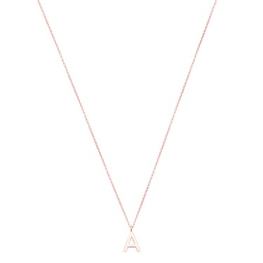 Argento Rose Gold Letter A Initial Necklace   - Click to view larger image