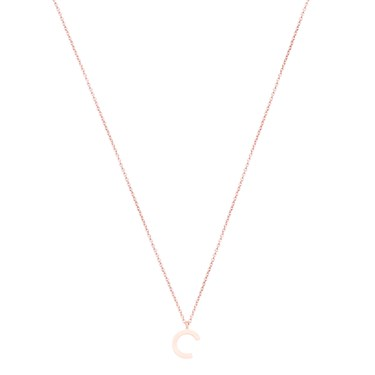 Argento Rose Gold Letter C Initial Necklace   - Click to view larger image
