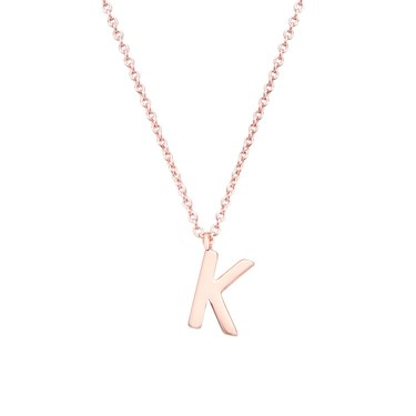 Argento Rose Gold Letter K Initial Necklace   - Click to view larger image