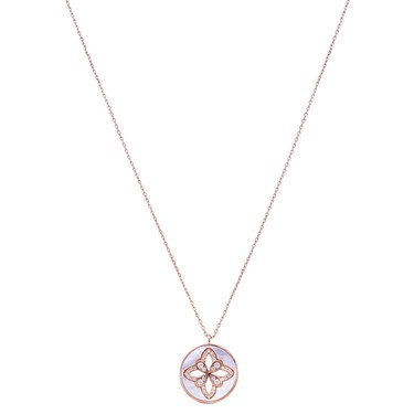 Argento Rose Gold Mother Of Pearl Arabesque Necklace  - Click to view larger image