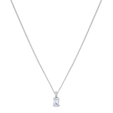 Argento Silver Baguette Crystal Necklace  - Click to view larger image
