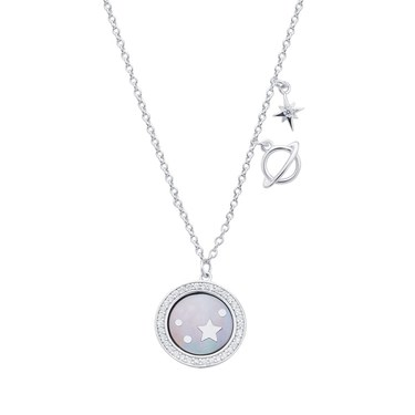 Argento Silver + Black Mother Of Pearl Starry Necklace - 925 Silver