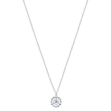 Argento Silver Crystal Circle Layer Necklace  - Click to view larger image