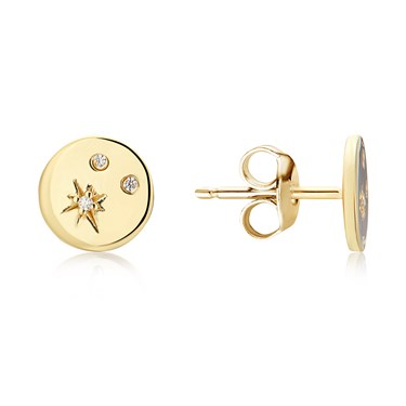 Argento Gold Crystal Print Disc Earrings  - Click to view larger image