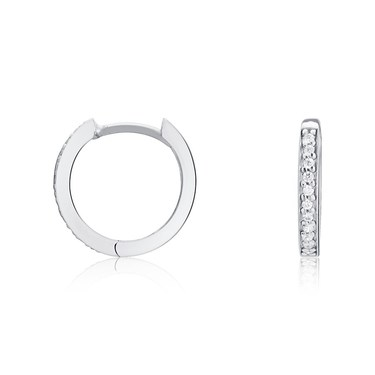 Argento Silver Crystal Huggie Earrings  - Click to view larger image