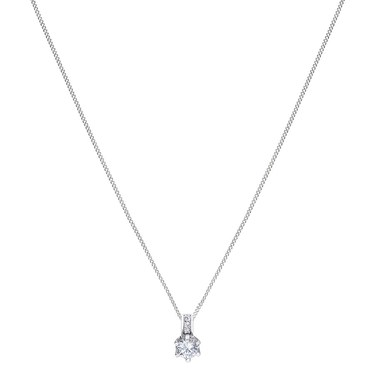 Argento Silver Solitaire Crystal Necklace   - Click to view larger image