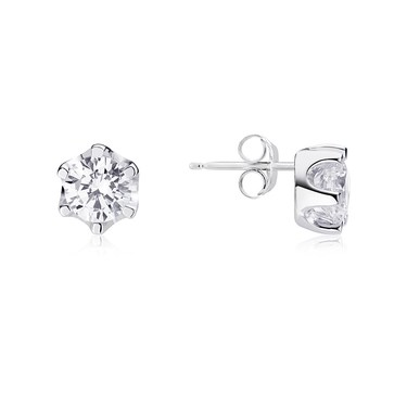 Argento Silver Solitaire Crystal Earrings   - Click to view larger image