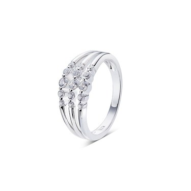 Argento Silver Triple Layer Crystal Ring   - Click to view larger image
