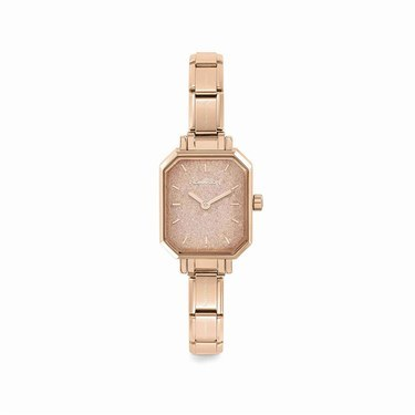 Nomination Paris Rose Gold Glitter Rectangular Watch   - Click to view larger image