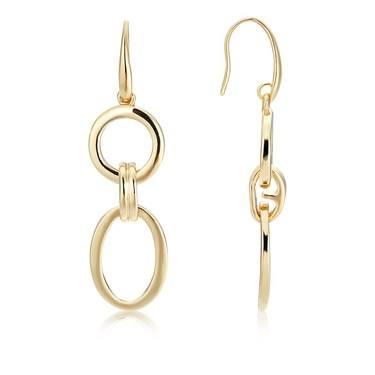 August Woods Gold Linked Oval Earrings   - Click to view larger image