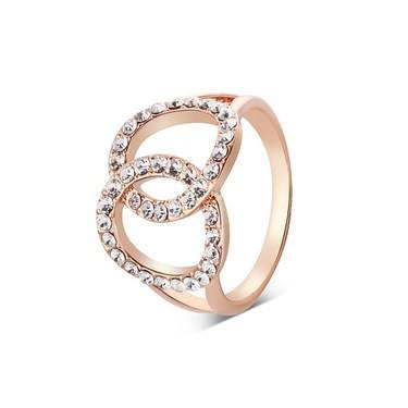 August Woods Rose Gold Double Link Crystal Ring   - Click to view larger image