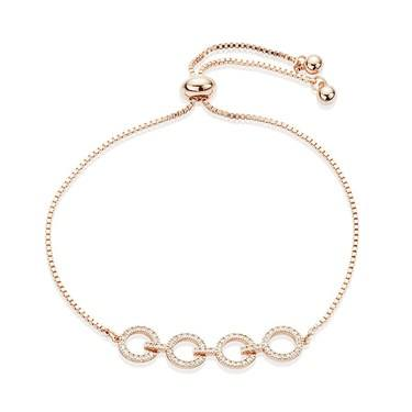 August Woods Rose Gold Crystal Link Circle Pull Bracelet   - Click to view larger image