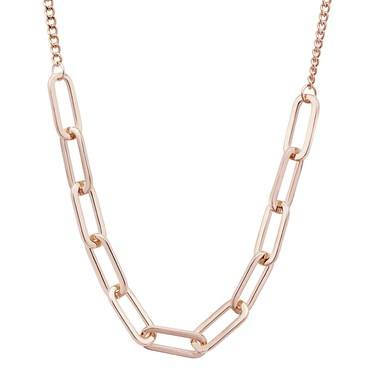 August Woods Rose Gold Rectangle Link Necklace    - Click to view larger image