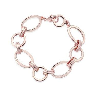 August Woods Rose Gold Linked Oval Bracelet   - Click to view larger image