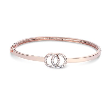 August Woods Rose Gold Crystal Link Circle Bangle   - Click to view larger image