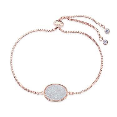 August Woods Rose Gold White Minerals Druzy Bracelet   - Click to view larger image
