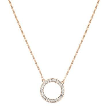 August Woods Rose Gold Open Crystal Circle Necklace   - Click to view larger image