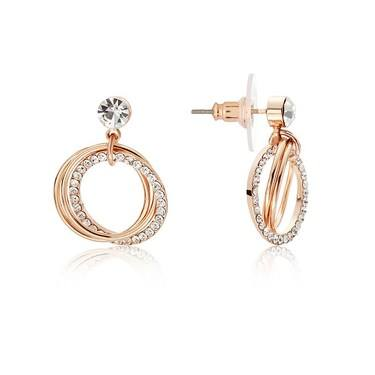 August Woods Rose Gold Open Crystal Circle Earrings  - Click to view larger image