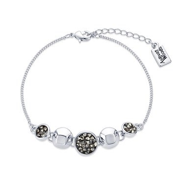 August Woods Silver Black Minerals Druzy Bracelet    - Click to view larger image