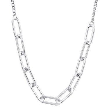 August Woods Silver Rectangle Link Necklace   - Click to view larger image