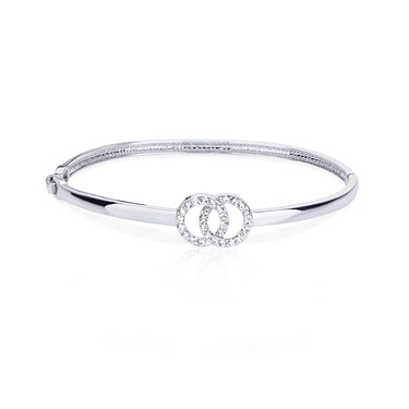 August Woods Silver Crystal Link Circle Bangle   - Click to view larger image