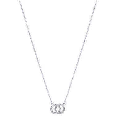 August Woods Silver Crystal Link Circle Necklace   - Click to view larger image